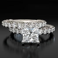 Wholesale Diamond Accent Rings - BRILLIANT PRINCESS VVS1 3.15 C ACCENTED DIAMOND RING BAND 14K WHITE GOLD PROMISE