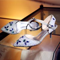 Wholesale Silver High Heels For Cheap - Shining 2017 Crystal Wedding Shoes Bead High Heel Women Shoes For Party Cheap Ankles Straps Pointed Toes Bridal Shoes High Quality