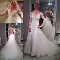 Wholesale Sparkling Red Wedding Dresses - Sparkle Sheer Scoop Long Sleeve Wedding Dresses 2017 Lace Court Train Applique Vintage Bling Sequins Bridal Gowns Cheap