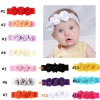 Wholesale Broad Hair Bands - Flower Headband Girls Kids Hot Sell 3 Flower Pearl Diamond Lace Broad Hair Bands Chiffon Headbands for Girl Elastic Kids Hair Accessories