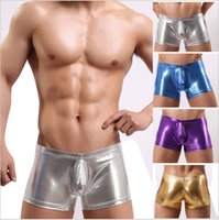 Wholesale Gold Metallic Shorts - New Metallic Mens Boxer Shorts Leather Shiny Male Underwear High Elastic Cool Shorts