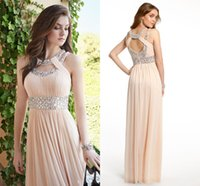 Wholesale Double Color Gowns - 2017 Bridesmaid Dresses Cheap Prom Dresses Double Cleo Collar Neckline Open Back Long Evening Gowns Maid of Honor Dresses with Crystals