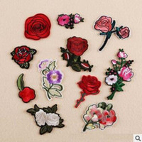 Patch Bordado Moda Feminina 11Pcs Bordado Rosa Flor Sew Ferro Em Patch Badge Bag Applique Artesanato Roupas Acessórios Ferro em Patches