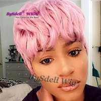 Wholesale Men Waves Hair - New Stylish Synthetic Short Curly Wave Hair Wig Romance Curl Rihanna Short Pink Color Curly Hairstyle Unisex Wigs for Men Boy