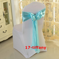 Wholesale Turquoise Satin Chair Sashes Wholesale - Good Looking Turquoise Color Satin Chair Bow \ Chair Sash Used On Chair Cover Free Shipping