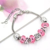 Wholesale Pink Roses For Gift - New Arrival European Style Breast Cancer Awareness Jewelry Rose Pink Ribbon Breast Cancer Bracelets for Breast Cancer Awareness Gift