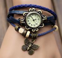ingrosso donne dell'orologio dell'annata del braccialetto-Orologio da polso in pelle a farfalla al quarzo con cinturino in pelle da donna Orologio da polso a farfalla in pelle con cinturino in pelle vintage