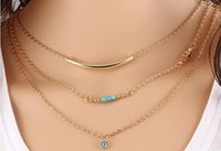 Wholesale Wholesale Shot Necklace - Multi - layer street shot the Fatima hand and eyes of the chain Turquoise women 's short necklace jewelry free shipping