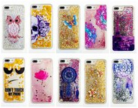 Wholesale Iphone 4s Case Silicone Glitter - Case For IPhone 7 Plus 6 6S SE 5 5S 5C 4 4S Touch 6 5 Bling Liquid Quicksand Glitter Soft TPU Silicone Skull Lace Eiffer Tower Skins Moving