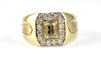 Wholesale Gold Emerald Cut Ring - Fancy Color Emerald Cut Diamond Men's Solitaire Ring Band 14k Yellow Gold 1.70Ct