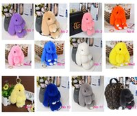 Wholesale Toy Car Backpack - New Pom Pom Mini Car Rex Play Dead Rabbit Key chain 12 Colors Fur Car Backpack Rabbit Doll Pendant Fashion Toys Wallet Handbag Bag Pendant