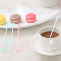 длинные пластиковые ложки оптовых-Wholesale- Candy color coffee stirrer bar spoon milk Fruit small stir bar Long Handled Spoon mixing Melamine Plastic Spoon 12.7*1cm