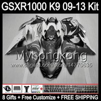 Wholesale Gsxr Grey - 8gifts gloss grey For SUZUKI GSXR1000 09 10 11 12 13 GSXR-1000 12MY66 GSX R1000 K9 GSXR 1000 2009 2010 2011 2012 2013 TOP grey white Fairing