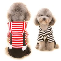 Wholesale Plaid T Shirt Hoodie - Hipidog Pet Dog Clothes Hoodie Strip Shirt Blouse Print Jumpsuit Romper Coat Outwear Spring Summer Clothes for Small Dogs Pets