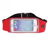 Wholesale Mobile Phone Belt Holders - Wholesale- Sports Running Waist Bag Screen Use Waterproof Running Belt Pouch Mobile Phone Holder for phone 4 5.3 5.5 6inch Phone