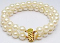 Wholesale 2 Rows mm Natural Akoya SOUTH SEA White Pearl Bracelet quot k