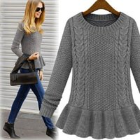 Wholesale womens ruffle sweater - Wholesale- New Knitted Sweater Womens Thick Keep Warm Fashion Casual O-Neck Ruffles Pullover Knit Long Sweater Winter Clothes