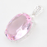 Wholesale Oval Red Gem - 6 Pieces Luckyshine Fire Oval Sweet Pink Topaz Gems 925 Sterling Silver Pendants for Neckalce Russia Canada Drop Easter gift Jewelry