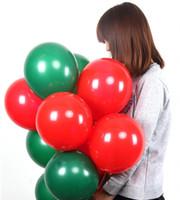 ballons verts de mariage achat en gros de-100 Pcs 2.2g 10 pouce Latex Vert Rouge Ballon Faveur De Mariage Décorations De Fête Noël ballons De Noël Décoration Layout Props
