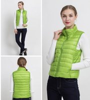 Wholesale Chinese Winter Vest - 2017 Winter New 90% White Duck Down Vest Stand Collar Warm Slim Zipper Women Fashion Down Jacket 12 Colors S-3XL