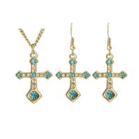 Wholesale Blue Crystal Cross Pendant - Colorful Jewelry Sets Colares with Cruz Pendant Bijuterias New Year Valentine's Day Gift Cross Shape Necklace and Earrings Set