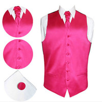Wholesale Men Satin Waistcoat - Wholesale- 2017 New Male Slim Dress Pure Color Vest Satin Wedding Waistcoat Casual Sleeveless Homme 8 Colors Attached Tie Cufflink