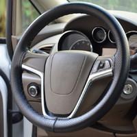 Wholesale Diy Leather Steering Wheel Covers - 38cm Diameter Universal Anti-slip Breathable PU Leather DIY Car Punching Steering Wheel Cover Case with Needles and Thread