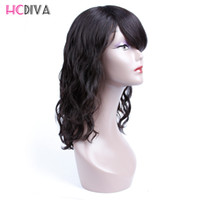 Wholesale Ladies Short Wigs - HCDIVA Human Hair Wigs For Black Woman Natural Wavy Lace Wigs for African Americans Human Hair Wgs for Black Women Soft Human Hair Wigs