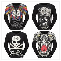 Wholesale Dimond Quality - The Punisher Dimond Skull Men Fashion Long Sleeve T Shirt Print PLEIN-PHILIPP 2017 New Autumn Casual PP T-Shirt Top Quality Plus size M-3XL