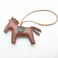 Wholesale Brand Pillars - Luxury Brand Bag Charm Pendant Tassel Pu Leather Key chain Animal Horse Key Chains Car Keyring llaveros portachiavi PWK1314