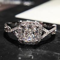 Wholesale Diamond Ring Solitaire Princess - Luxury brand Sterling silver Princess drill torsion micro women's unfade diamond ring inlaid CZ