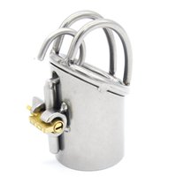 Wholesale Chastity Piercings - Stainless Steel PA Lock Prince Albert Piercing Male Chastity Cage Glans Puncture Genital Piercing Chastity Device For Men