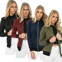 Womens Long Sleeve Slim Casual Cool Basic Bomber Jacke Damen Armee Green Daunenjacke Herbst Zipper Mantel Outwear