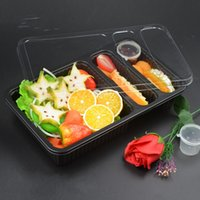 Wholesale disposable packing box online - Separate Lunch Box Disposable Environmental Plastic Case Multi Function Salad Snack Packing Boxes High Quality Hot Sell zq R