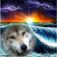 Wholesale Canvas Paste - New diy diamond painting cross stitch kits resin pasted painting full round drill needlework Mosaic Home Decor animal wolf sea yx0603
