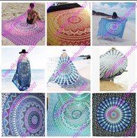 Wholesale Peacock Wall Hangings - 2017 Bohemia Square Beach Towel Beach Shawl Meditation Mandala Towels Hippie Peacock Tapestry Wall Hanging 150cm