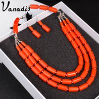 Wholesale Artificial Beads - Multi Layers 7 Color African Beads Jewelry Set Nigerian Wedding African Beads Jewelry Sets Artificial Coral Beads Necklace Set