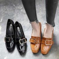 Wholesale Commuter Shoes Women - High heeled shoes with thick leather shoes spring new British style metal buckle shoes retro commuter