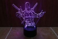 Wholesale Marvel Led Lights - 2pc Xmas gift Marvel Deadpool 3D Night Light Touch Button Colors Change LEDTable Lamp Gift Mix Order Custom Any LED College Light