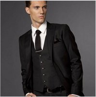 Wholesale Terno Noivo Fit - Black Wedding Suits For Men, Black Groom Suit, Custom Made Wedding Tuxedos For Men,Bespoke Men Suit Costume Homme Terno Noivo