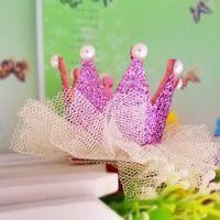 Wholesale Modern Tiaras - Wholesale- New Princess Crown Hairpins Modern Ornament accessories Gliter Pearls Girls Tiaras Headwear Baby Dancing Birthday Party Hairclip