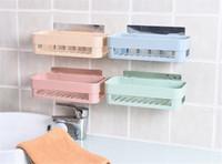 Wholesale Bathroom Toiletries - 2 Colors Seamless Paste Shelf Nordic Restroom Bathroom Shelf Reusable Racks Hanging Storages Holders Toiletries Storage Rack