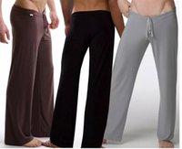 Wholesale Sport Pyjamas - Black Gray Black White Men Sexy Silky Lounge Loose-fitting Baggy Sporting Yoga Pants Pyjama Men Pajamas Sleepwear Trousers
