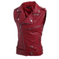 Wholesale Men Vest Motorcycle - Wholesale- fashion 2016 summer sleeveless motorcycle waicoat men good quality leather vest men slim fit size 2xl