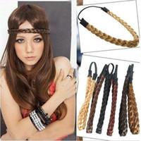 Wholesale Headbands Plait - MISM New Fashion Synthetic Girls Hairpiece 48cm Length Wigs Headband Good Elastic Headwear Belt Plait Women Hair Accessories