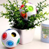 Wholesale Wholesale Childrens Toy Box - Magic Ball Rainbow Puzzle balls Childrens 3d Intelligence games Magic Cubes football Fidget Toys Puzzle speed Fun Gift twith Box