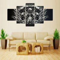 Wholesale Canvases For Oil Painting - 5 Pieces Canvas Print Harley Skull Painting for Living Room Wall Art Picture Gift for Home Decoration No Frame