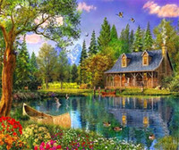 5D Diamond Embroidery Needlework Diy Painting Cross Stitch Kits Scenery Cabin In Woods Full Square Mosaic Room Decor Zf0054