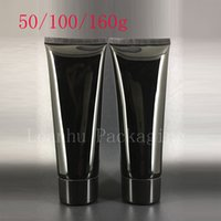 Wholesale Empty Squeeze Bottles - 50g 100g 160g Empty Black Soft Squeeze Cosmetic Packaging Refillable Plastic Lotion Cream Tube Screw Lids Bottle Container