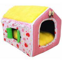 kullanılmış kedi toptan satış-Pembe / Sarı Renk Prenses Stili Pet House Yumuşak Köpek Kennel Kış Kullanımı Kedi Uygulaması Pet Yatak